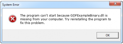 gdfexamplebinary.dll file error