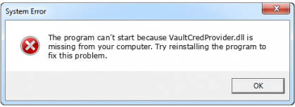 vaultcredprovider.dll file error