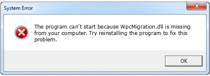wpcmigration.dll file error