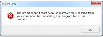 wsmsvc.dll file error